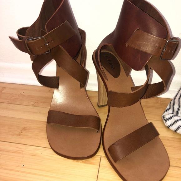 Chloe Shoes - Chloe Wood Heel Sandals